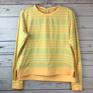 Lululemon Yellow Striped Long Sleeve Warm Up Crew